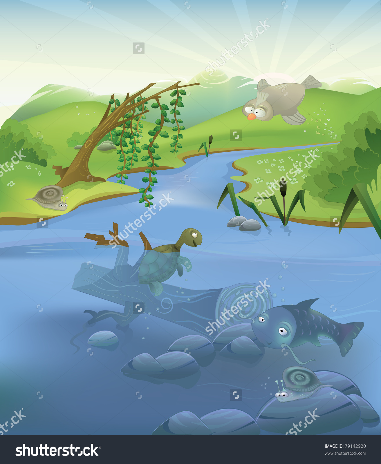 Vector River Illustration With Set Of Animals: Two Snails, Turtle.