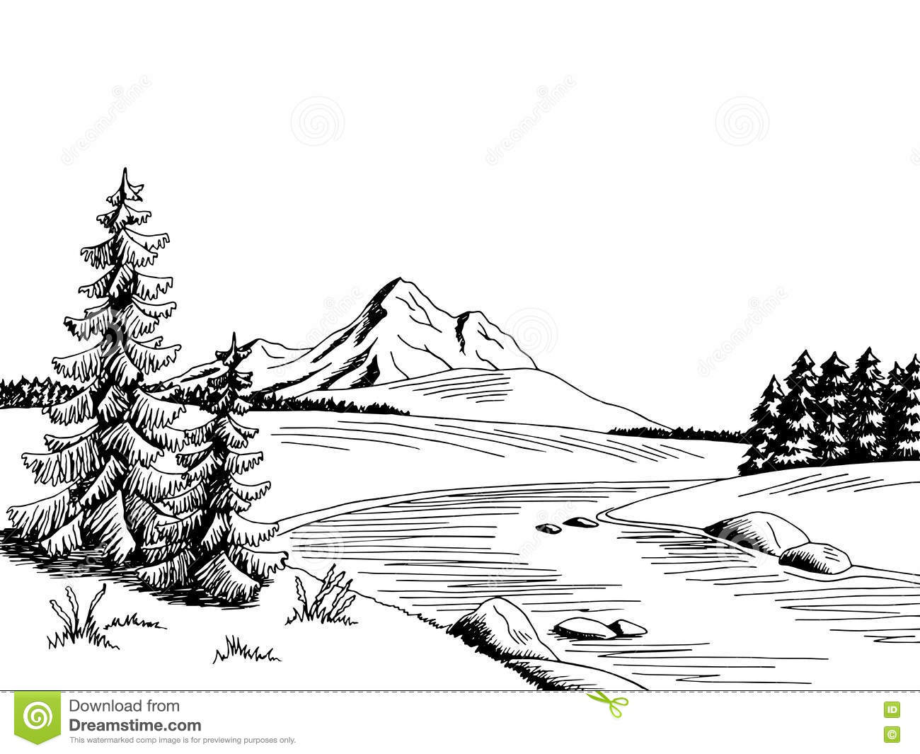 26 River Black And White free clipart.