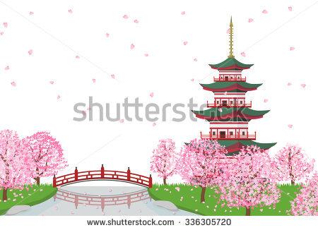 Sakura Cherry Blossom Tree River Pagoda Stock Vector 336305708.