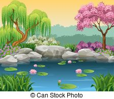 Cherry blossoms and river Clipart and Stock Illustrations. 37.