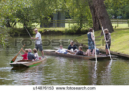Stock Photo of England, Oxfordshire, Oxford. Punting on the river.