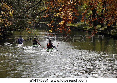 Stock Photography of England, Oxfordshire, Oxford, Canoeing on the.