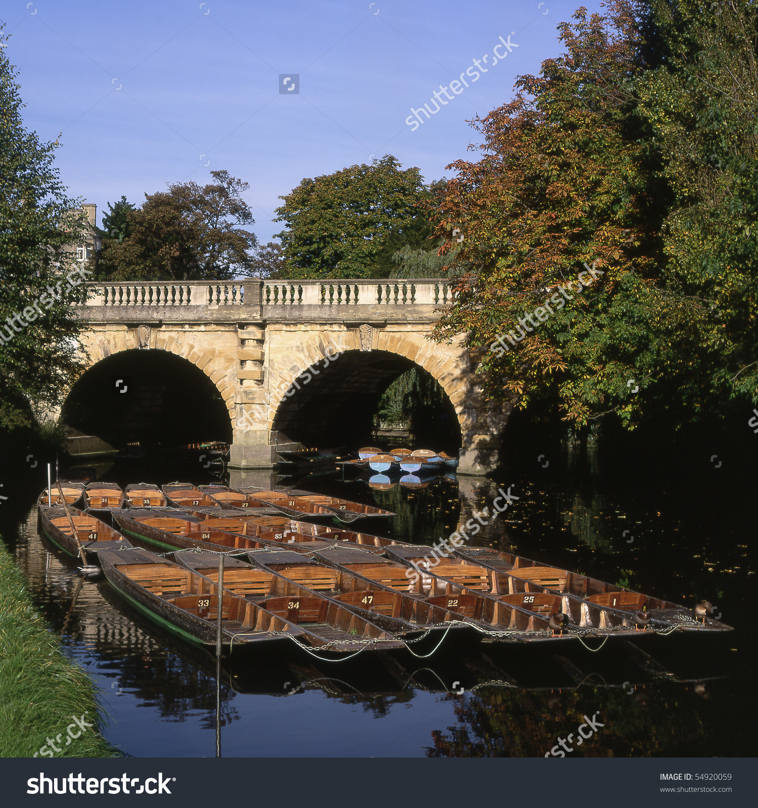 Moored Punts On River Cherwell By Magdalen Bridge. Oxford. England.