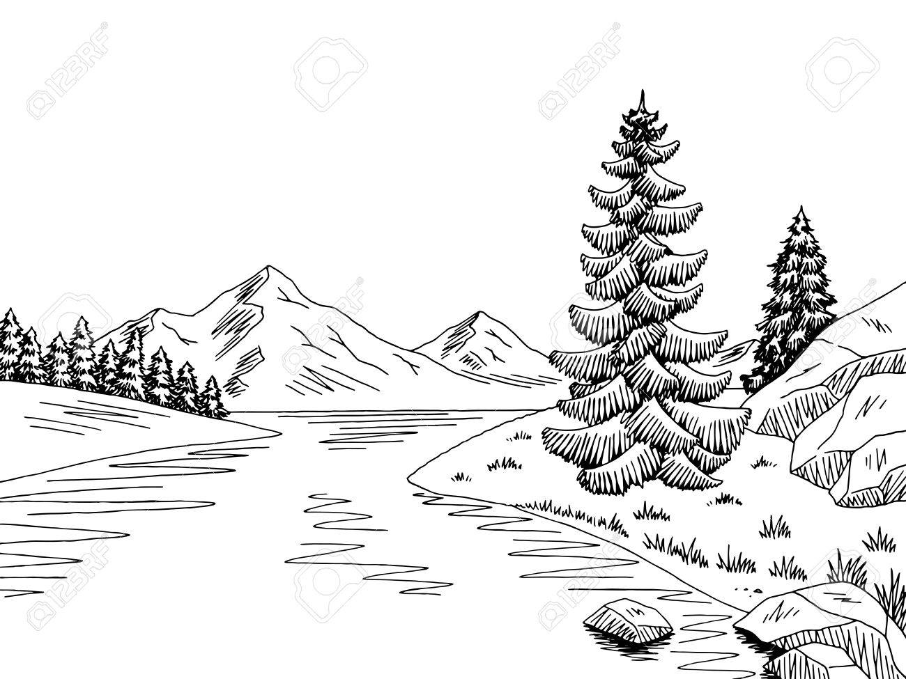Black and white river clipart » Clipart Station.