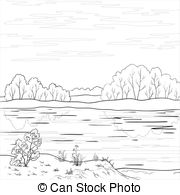 Clip Art of Landscape. Forest river, outline.