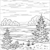 Clip Art of Landscape. Forest river, outline k7851836.