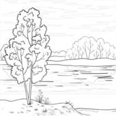 Stock Illustration of Landscape. Forest river, outline k6563818.