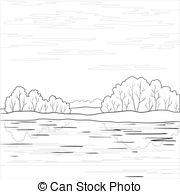 Clip Art Vector of Landscape. Forest river, outline.