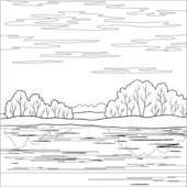 Clipart of Landscape. Forest river, outline k6660491.