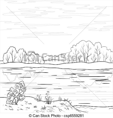 Clipart of Landscape. Forest river, outline.