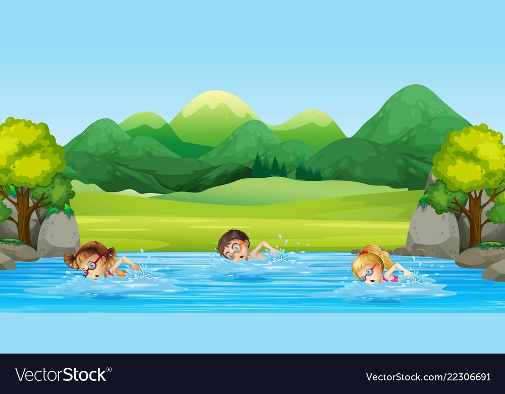 Children swimming in the river.