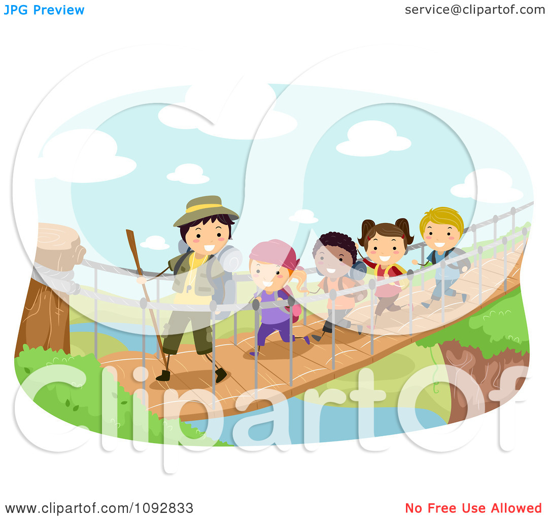 Clipart Summer Camp Group Crossing A Foot Bridge Over A River.