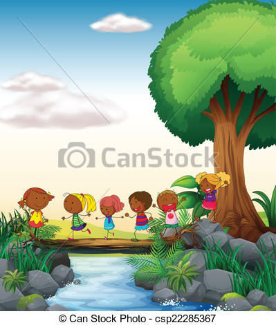 Clip Art Vector of Children and river.