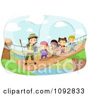 Clipart Happy Family Hiking And Crossing A River Over Green.