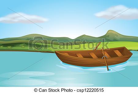 Vector Clip Art of A river and a boat.