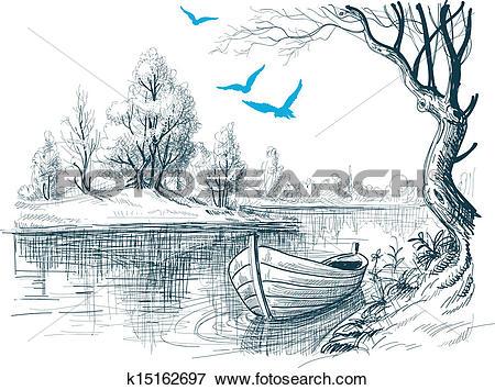 Clip Art of Boat on river / delta vector sketch k15162697.