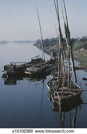Stock Photograph of Feluccas dock on the Nile River. x15102369.