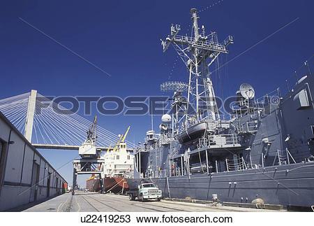 Stock Photo of navy, Savannah, GA, Georgia, A US Navy ship is.