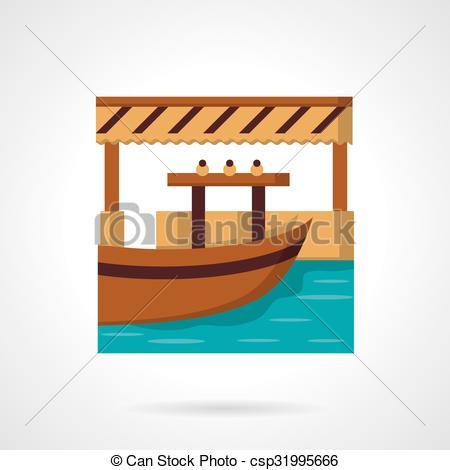 Clip Art Vector of River dock flat color vector icon.
