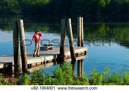 Stock Photography of Dock on Connecticut River, Haddam Meadows.