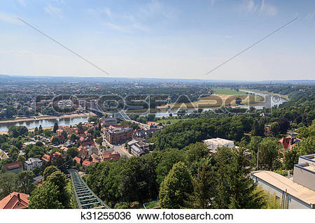 Stock Images of View of Dresden cityscape with Dresden Suspension.