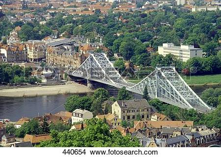 Stock Photo of Suspension railway bridge across river, Elbe River.