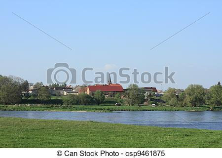 Stock Images of Village on the Elbe river in Saxony.
