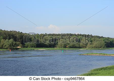 Stock Photo of Elbe river in spring, Saxony.