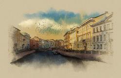 Saint Petersburg Embankment River Moika Stock Illustrations.