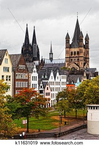 Stock Photograph of Rhine River Embankment in Cologne in the.
