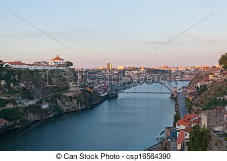 Stock Photographs of Portugal. Porto city. View of Douro river.