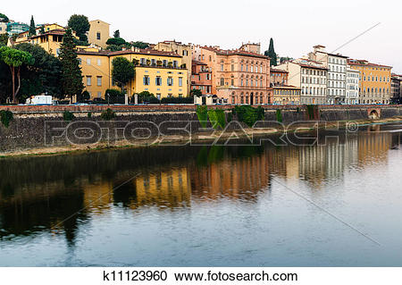 Stock Photography of Arno River Embankment in the Early Morning.