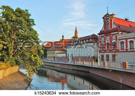 Stock Photo of Wroclaw. Odra river embankment k15243634.