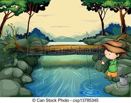 River Fishing Clip Art.