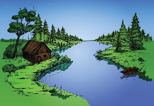 River flowing across beautiful forest Clipart Image.