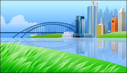 Cty on river side with a bridge clip arts, free clip art.