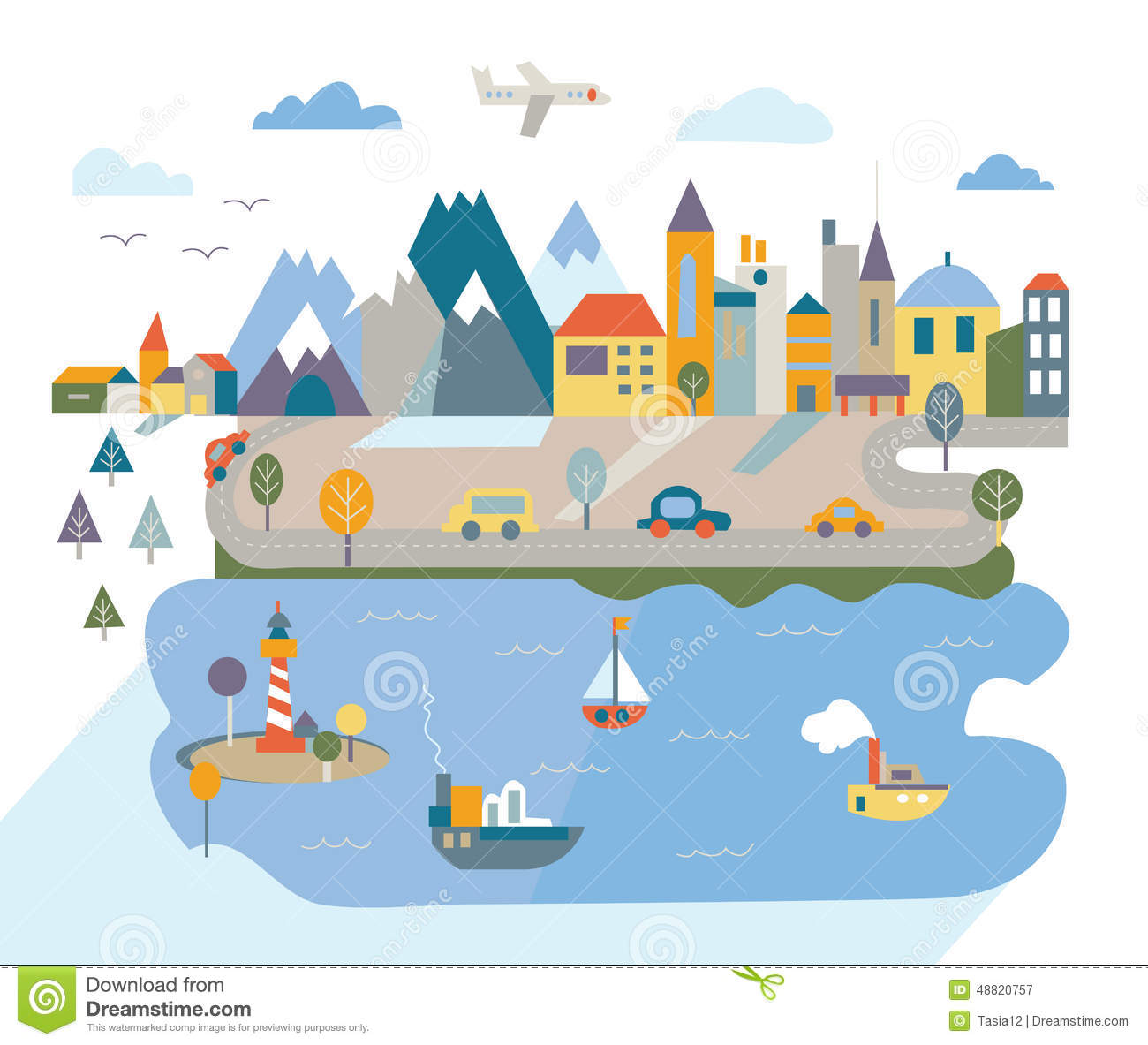 Cartoon Flat City With River And Mountains Stock Vector.