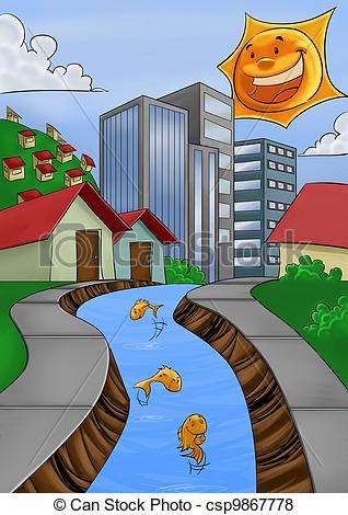 Stock Illustration of clean river.