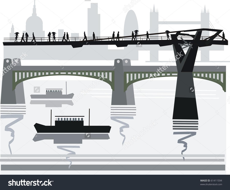 Vector Illustration Of Pedestrians Crossing City Footbridge Over.