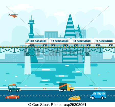 Clip Art Vector of Road Cars Wagons on Bridge over River Transport.