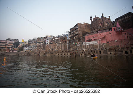 Pictures of India: Varanasi, Ghats on the Ganges River.