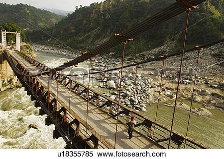 Stock Image of Bridge across a river, Chamba, Himachal Pradesh.