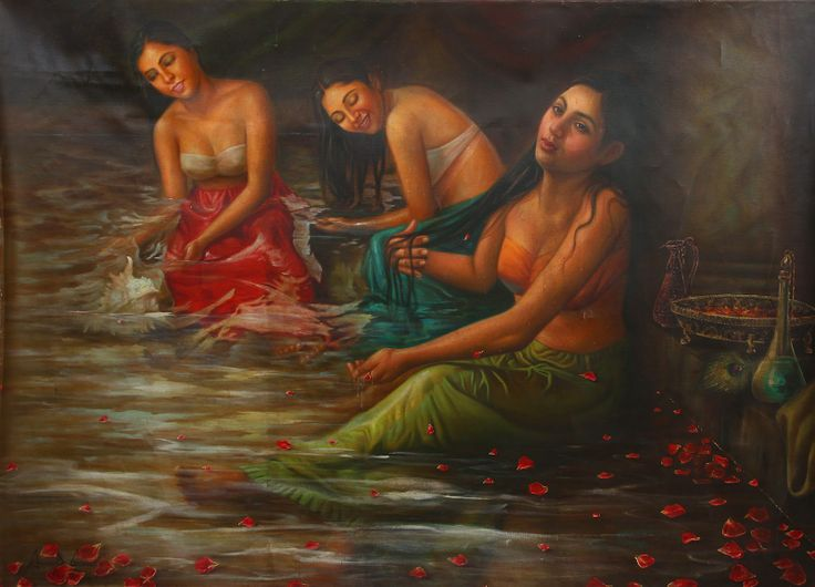 Women Bathing in River Ganga. The most revered river in India. It.