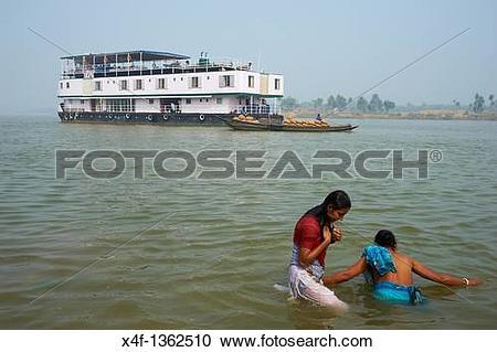 Stock Photography of India, West Bengal, Sukapha boat on the.