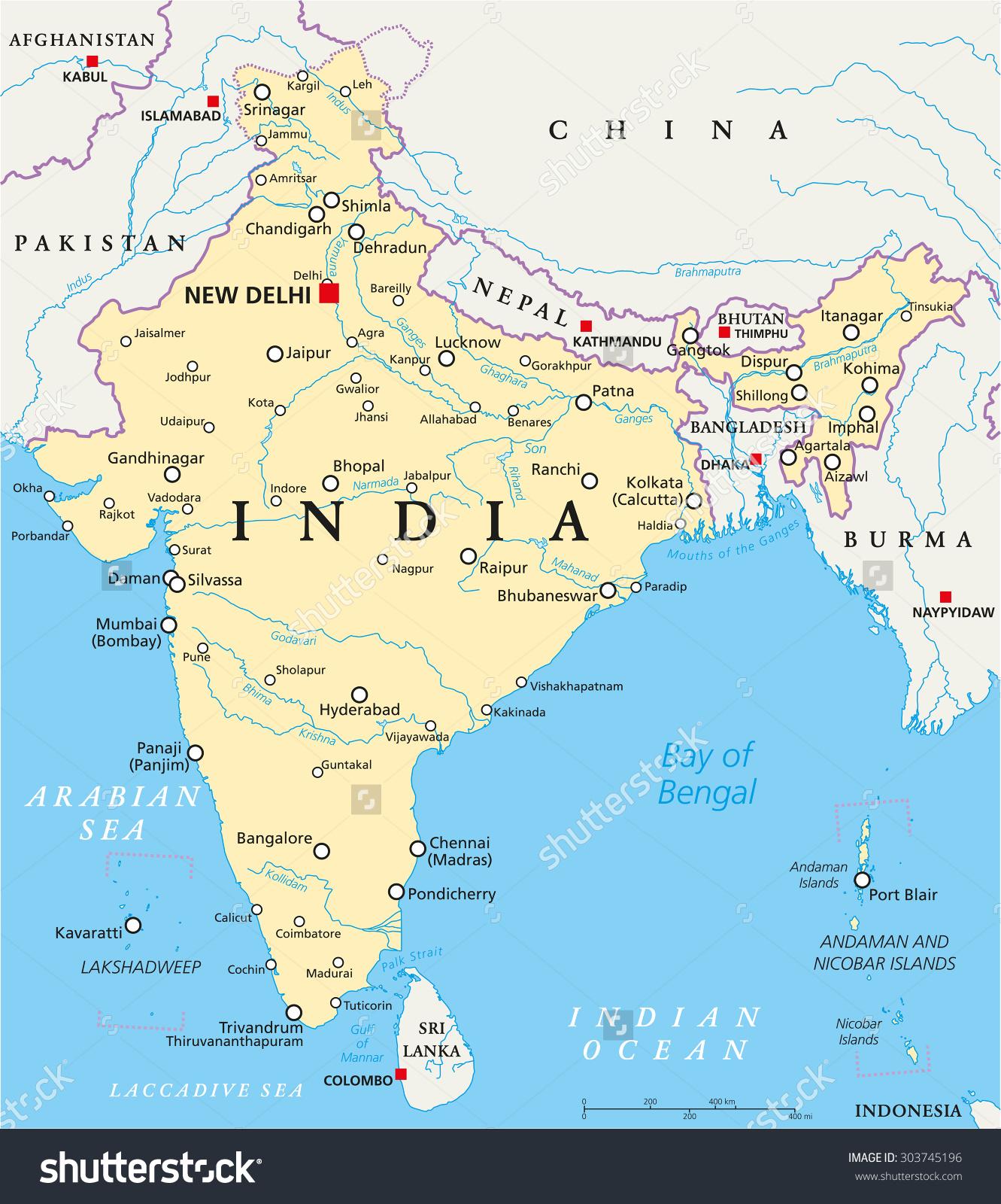 India Political Map Capital New Delhi Stock Vector 303745196.