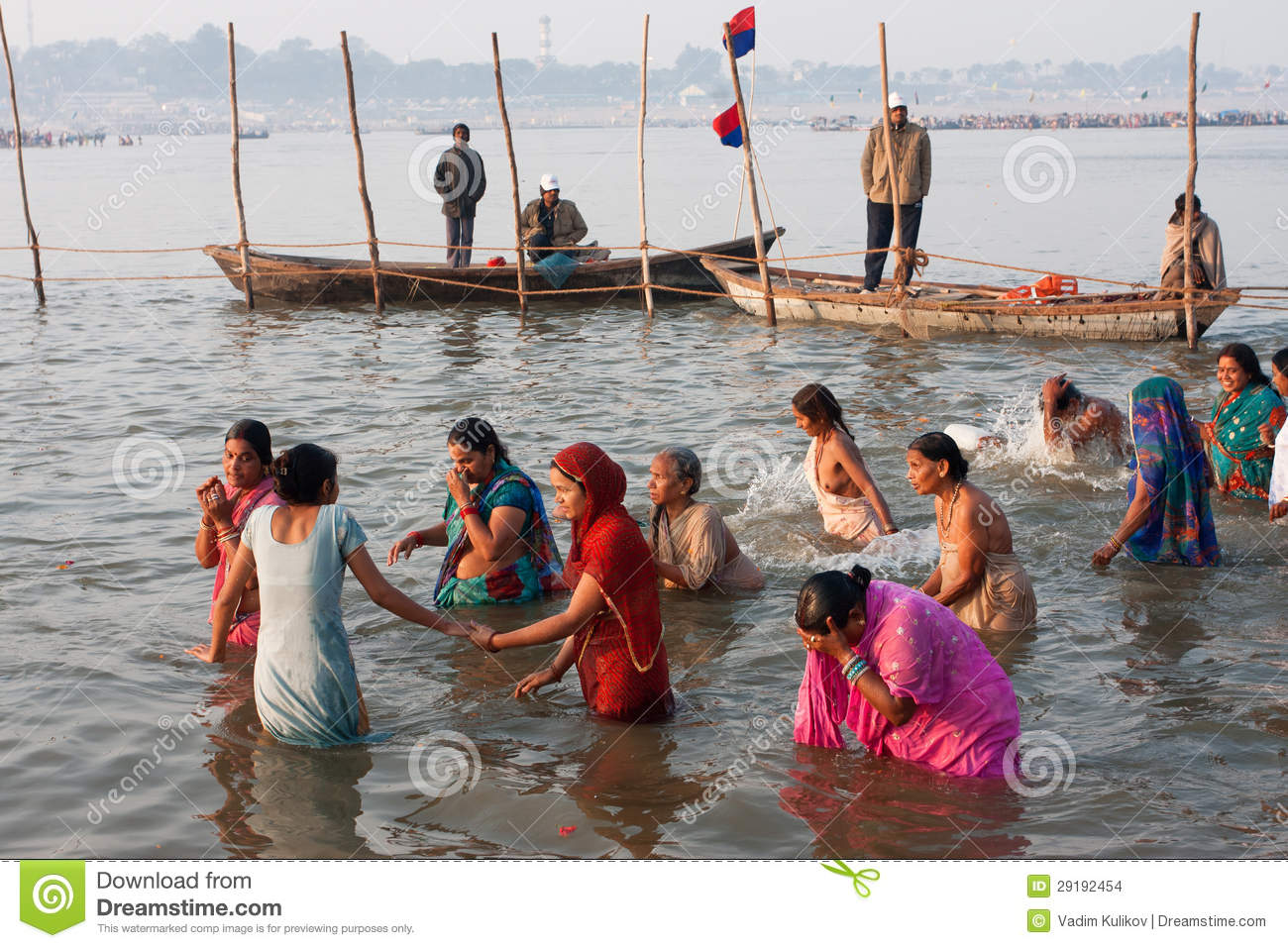 Indian Women Swimming In River Editorial Stock Image.