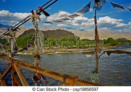 Stock Illustration of bridge over the Indus river, india, oil.