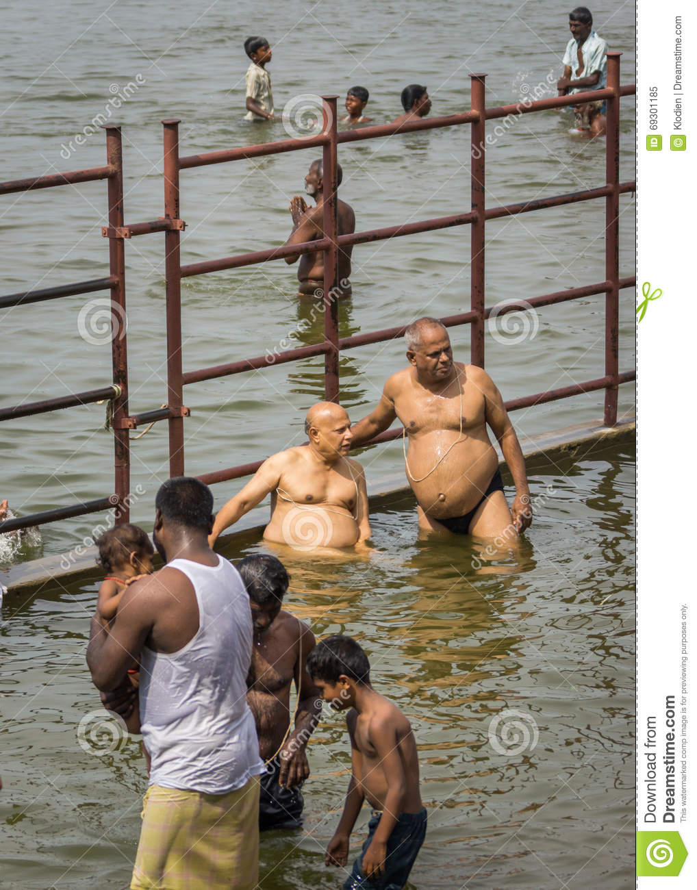 Several People Bath Ritually In Cauvery River. Editorial Image.