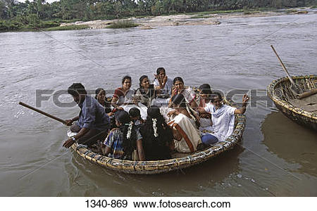 Stock Photograph of High angle view of tourists in a coracle.