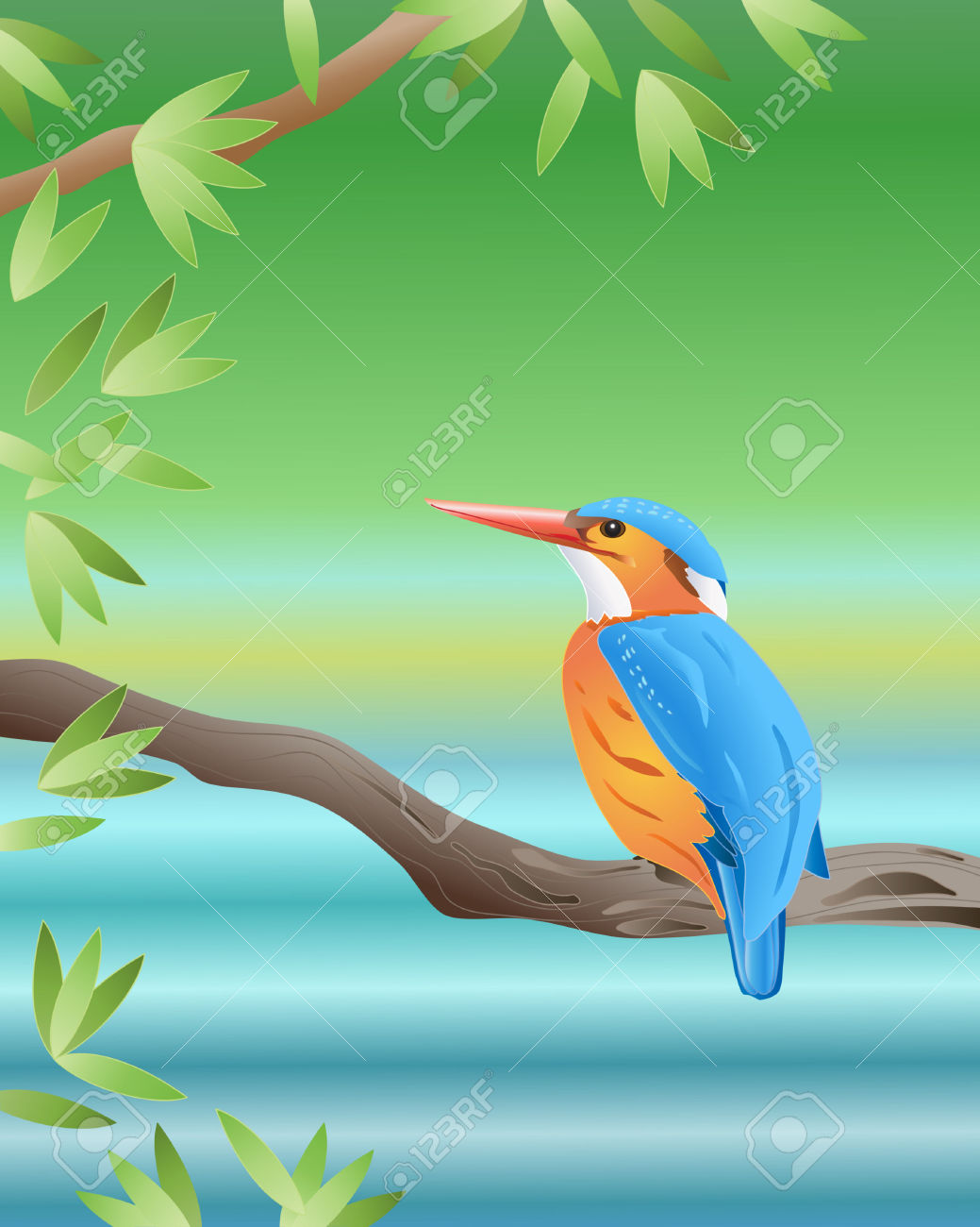 An Illustration Of A Malachite Kingfisher Sitting On A Branch.